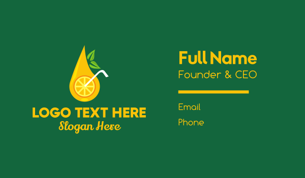lemon - Citrus Fruit Drink Business card horizontal design
