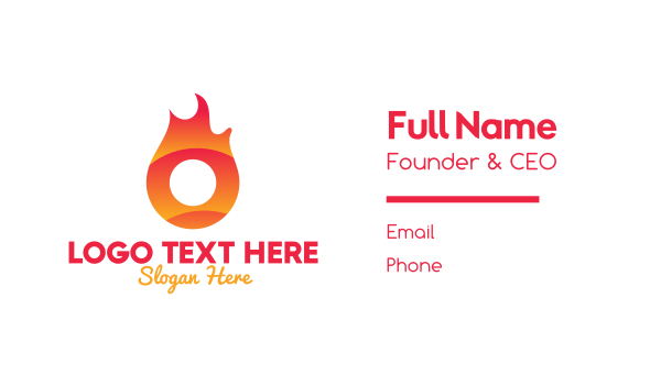 sizzling - Flaming Ring Letter O Business card horizontal design