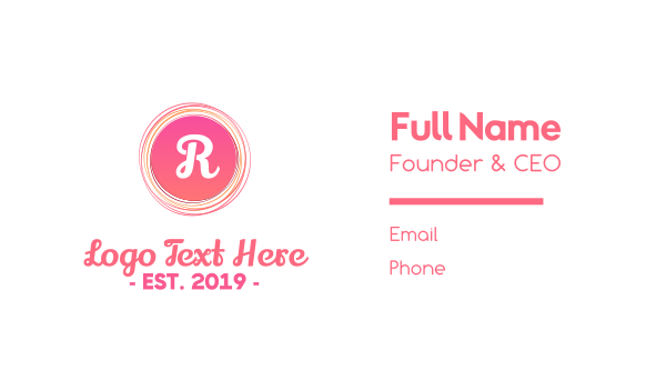 pink circle - Pinkish Rounded Line Lettermark Business card horizontal design