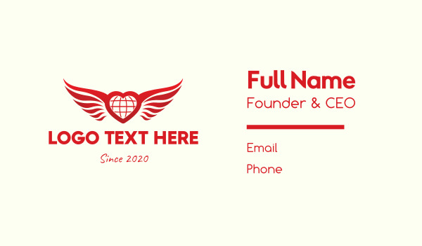 cupid - Red Heart Wings Business card horizontal design