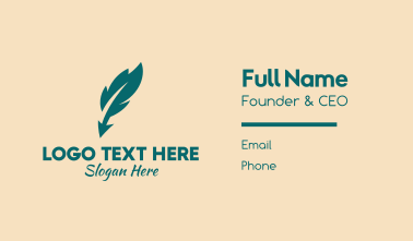 Feather Quill Writer Business Card