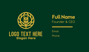 Gold Wheat Agriculture Business Card