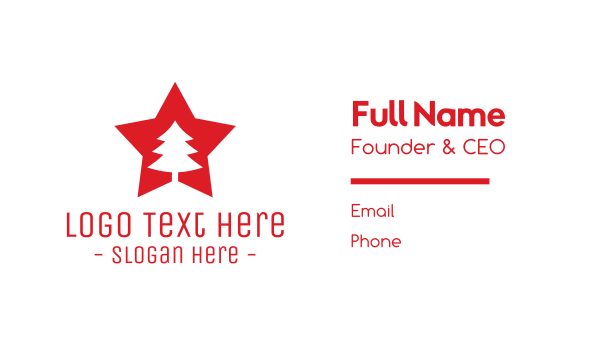 winter - Red Tree Star Business card horizontal design