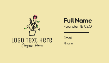 Flower Pot Outline Business Card