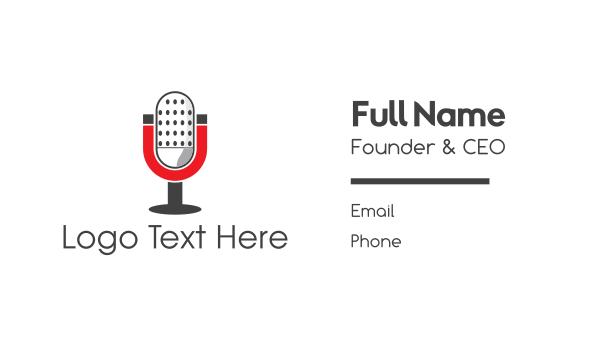 talk show - Magnet Podcast Radio Microphone Business card horizontal design