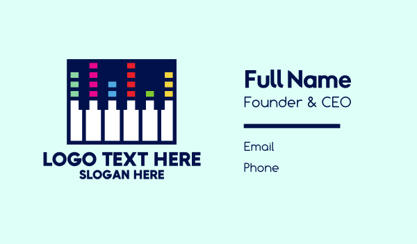 piano player - Electronic Piano Keyboard Business card horizontal design