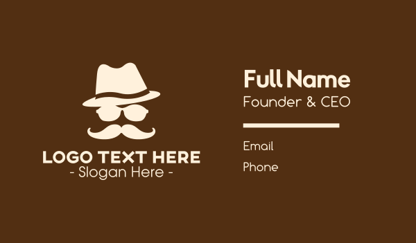 silhouette - Mysterious Moustache Guy Business card horizontal design