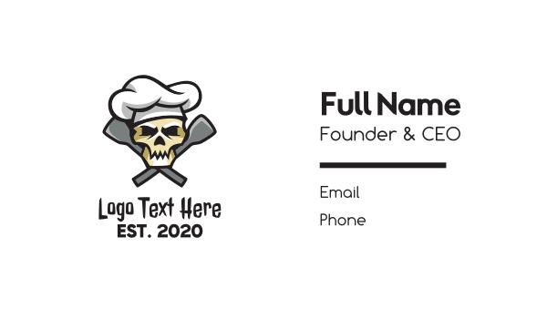 culinary school - Skull Cuisine Chef  Business card horizontal design