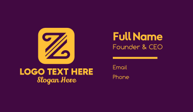 Curved Letter Z Business Card