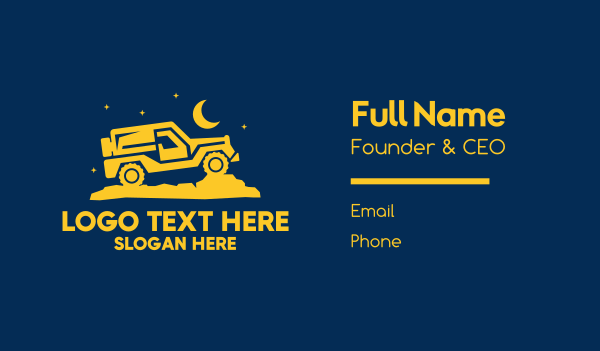 outdoor activity - Night Drive Jeep Business card horizontal design