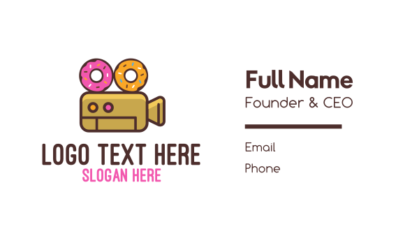 reel - Donuts & Movies Business card horizontal design
