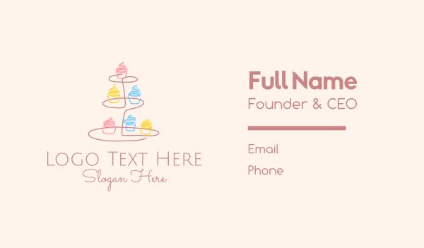 dessert bar - Minimalist Cupcake Tower Business card horizontal design