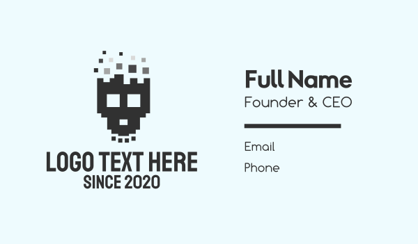 software development - Pixel Skull Business card horizontal design