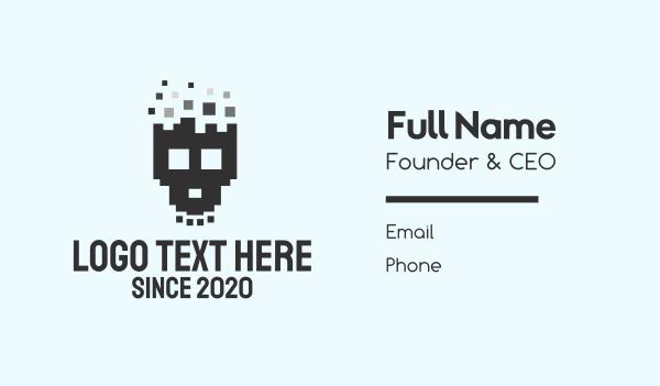 hacking - Pixel Skull Business card horizontal design