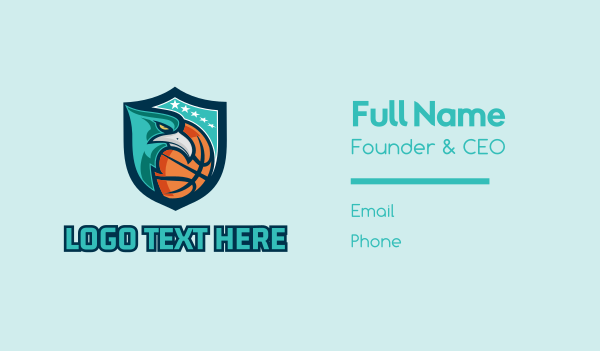 basketball equipment - Basketball Eagle Mascot  Business card horizontal design