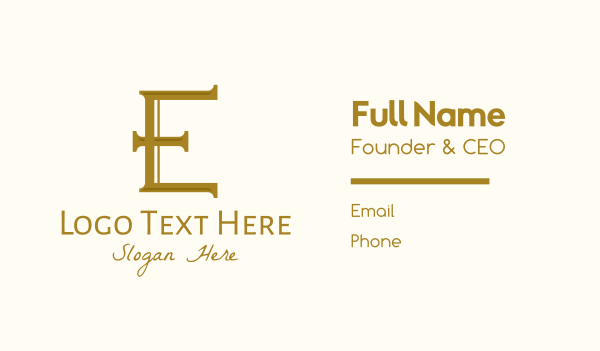 high end - Gold Luxury Letter E  Business card horizontal design