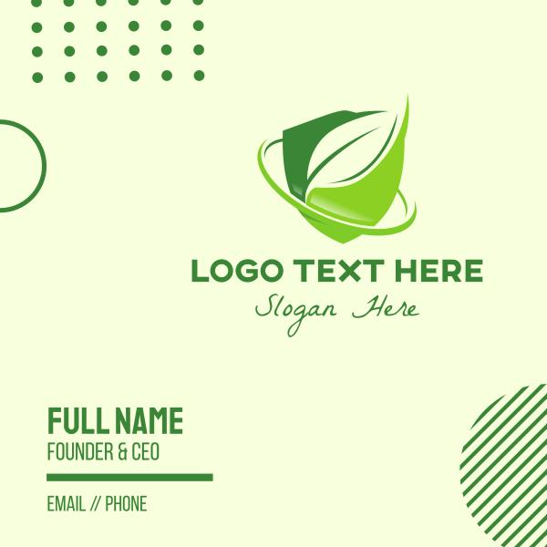 Green Eco Leaf Shield Business Card