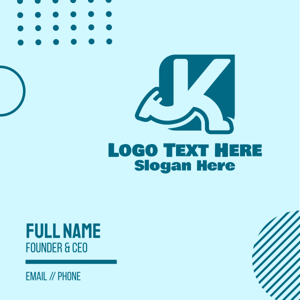 Running Letter K Business Card