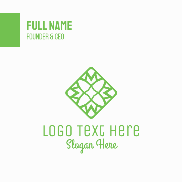 Green Flower Tile Business Card
