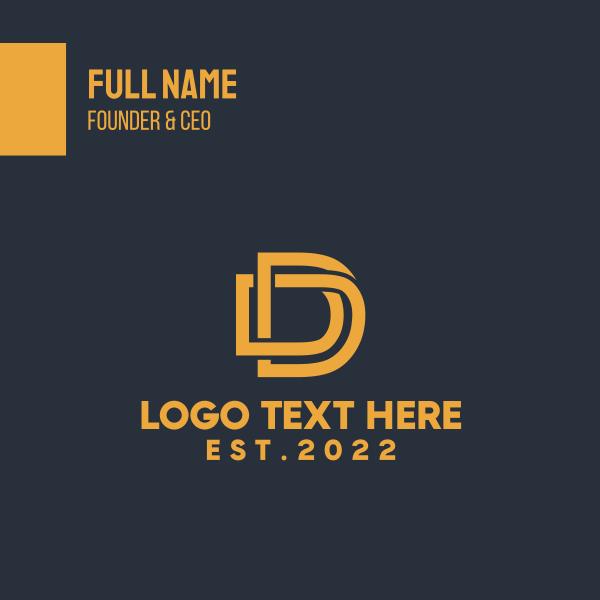 Letter D Golden Monogram Business Card