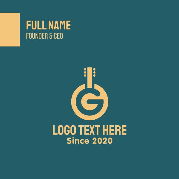 Golden Letter G Guitar Business Card