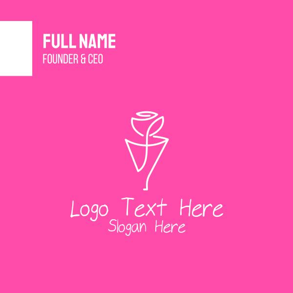 Rose Line Art Business Card