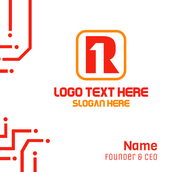 Letter R  & Number 1 Business Card