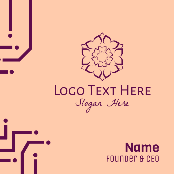 Purple Flower Hexagon Business Card