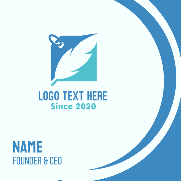 Blue Feather Label Business Card