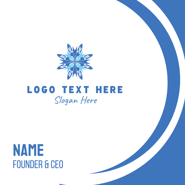 Blue Snowflake Business Card