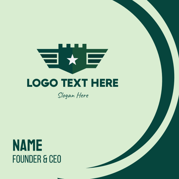 Green Military Shield Badge Business Card