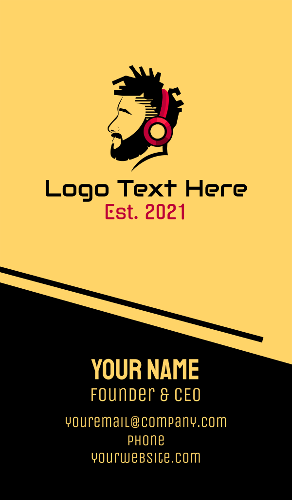 Headphone Man Silhouette Business Card