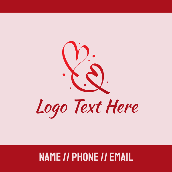 Red Romantic Heart Ribbon Business Card