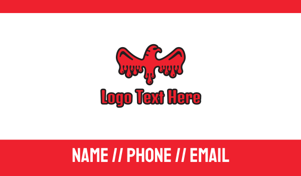 red hawk - Blood Eagle  Business card horizontal design