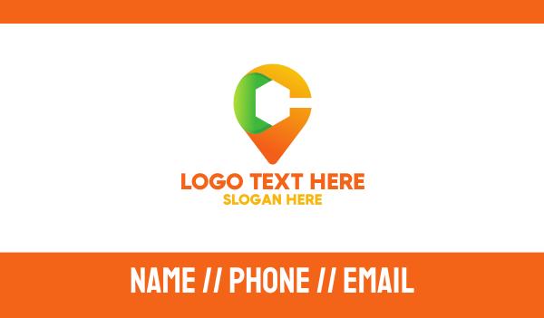 color - Multicolor Location Pin Letter C Business card horizontal design