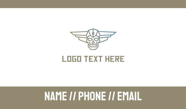 transformation - Cyborg Skull Wing Business card horizontal design