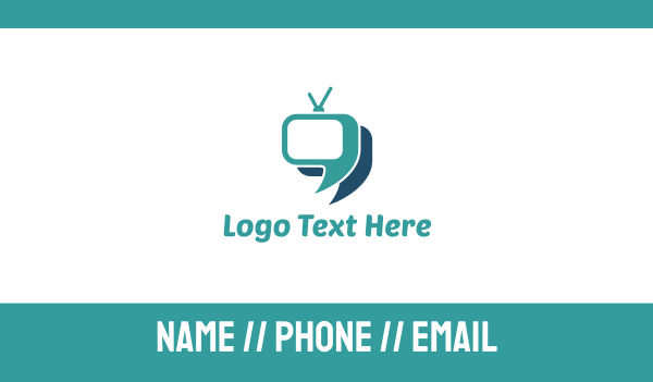 Blue Television Chat Business Card Maker
