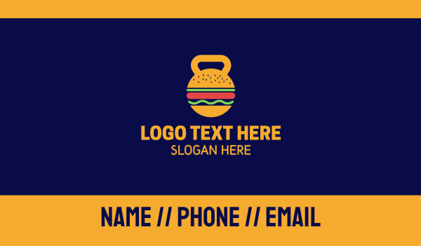 workout - Kettlebell Hamburger Nutrition Business card horizontal design