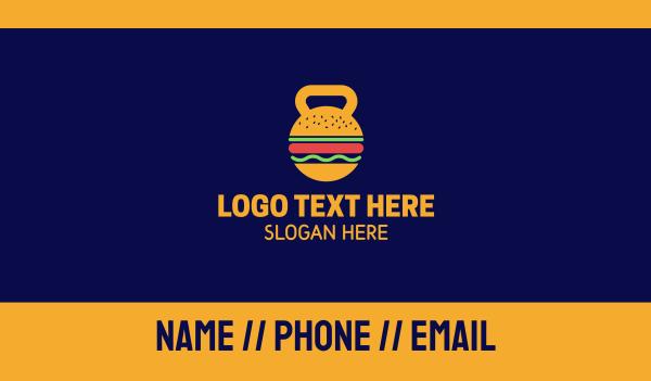 kettlebell - Kettlebell Hamburger Nutrition Business card horizontal design