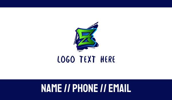 tag - Graffiti Letter Z Business card horizontal design