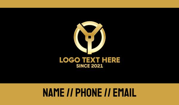 quality - Golden Letter Y Business card horizontal design