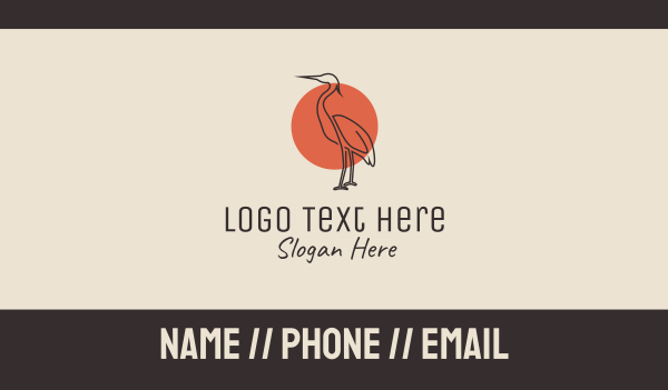 heron - Sunset Heron Monoline Business card horizontal design
