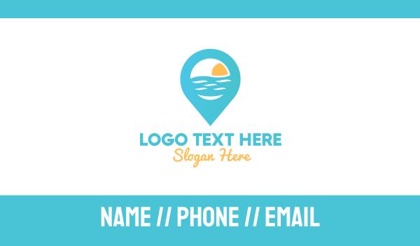 hospitality - Cyan Beach Pin Business card horizontal design