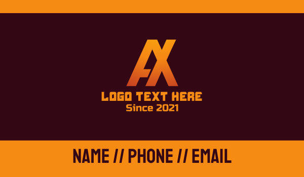 clash of clans - Monogram Tech A & X Business card horizontal design