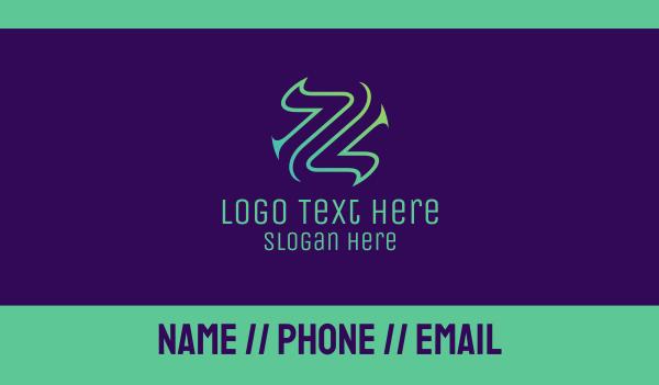 lettermark z - Abstract Letter Z Business card horizontal design