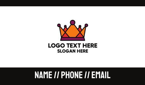 treasure - Polygonal Orange Crown Business card horizontal design