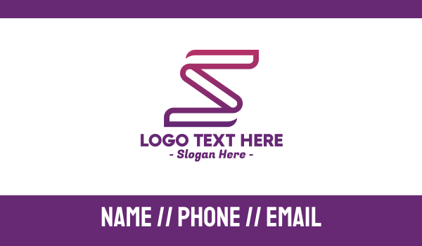 line - Stroke Letter S Business card horizontal design