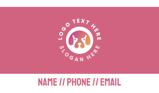 Gradient Dog Head Business Card