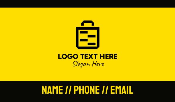 bargain - Black Yellow Paper Bag Business card horizontal design