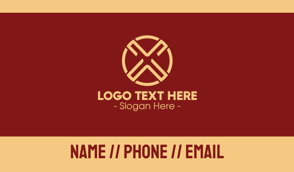 formal - Brown Letter X Business card horizontal design